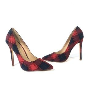 Liliana Red Plaid Classic Pumps Pointed Toe Heels